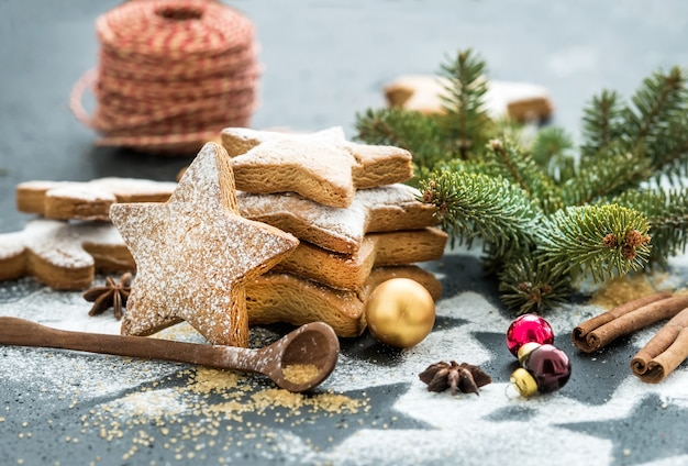 Biscuits de pain d'épices traditionnels de noël avec du sucre en poudre, de l'anis et des bâtons de cannelle