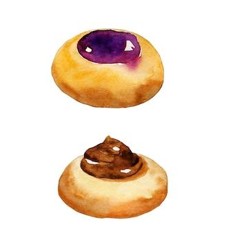 Biscuits ronds avec confiture et chocolat