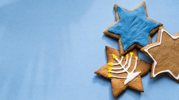 Biscuits avec symboles concept juif traditionnel de hanoucca