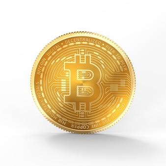 Bitcoin 3d isolé sur fond blanc avec un tracé de détourage.