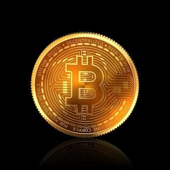 Bitcoin 3d isolé sur fond noir avec un tracé de détourage.