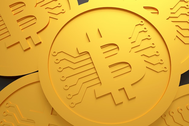 Bitcoin coin money. rendu 3d.