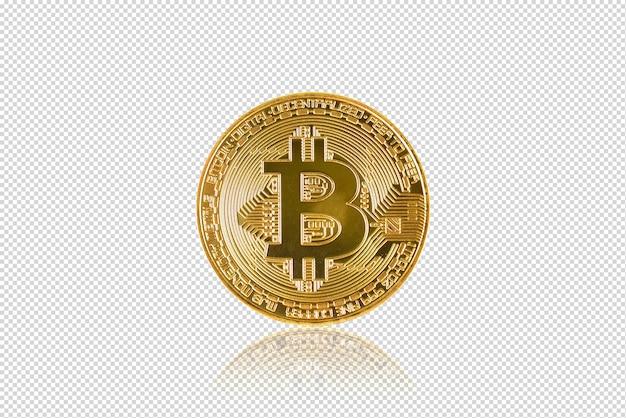 Bitcoin doré (monnaie numérique) isolée sur fond noir (avec un tracé de détourage)