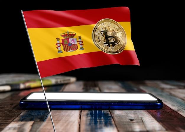 Bitcoin espagne sur le drapeau de l'espagne. actualités bitcoin et situation juridique en espagne concept.