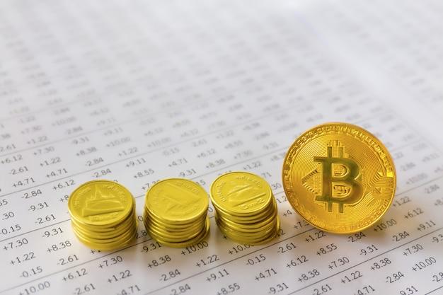 Bitcoin sur fond financier du marché boursier numérique.