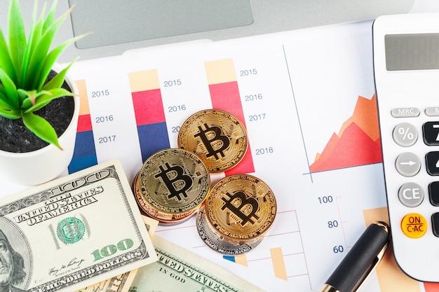 Bitcoin, graphique et dollar américain. trading financier