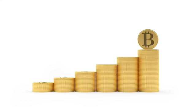 Bitcoin sur un graphique à partir d'une pile de pièces de monnaie