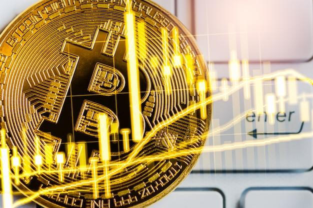 Bitcoin moyen d'échange moderne. commerce virtuel de monnaie numérique et d'investissement financier.