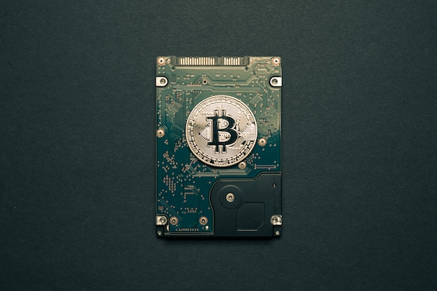 Bitcoin or sur un lecteur de disque dur.