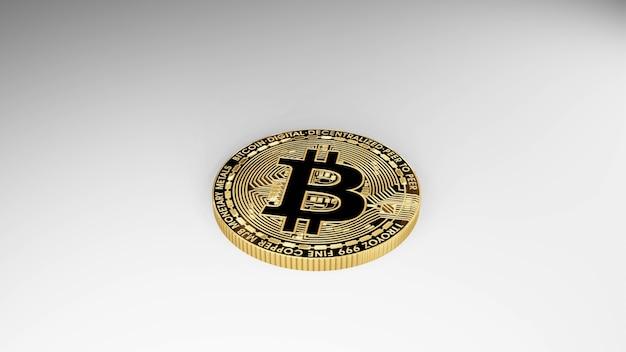 Bitcoin d'or de rendu 3d isolé sur fond blanc