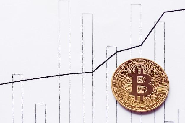 Bitcoin d'or sur la table d'un graphique en hausse