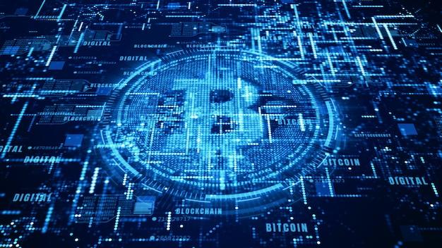 Bitcoin, signe monnaie, dans, cyberespace numérique, réseau, argent mondial