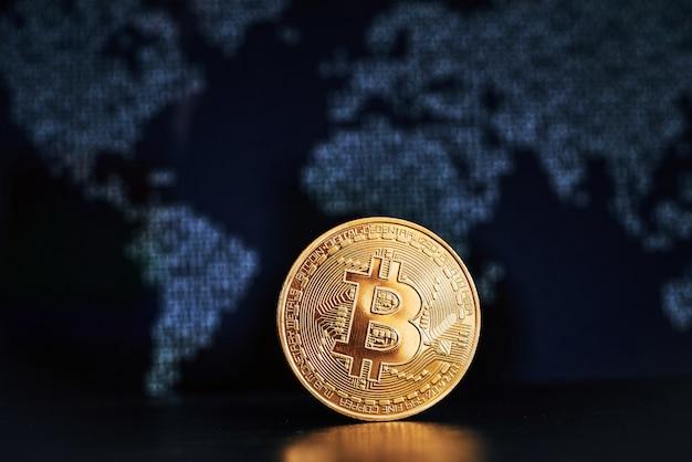 Bitcoin sur la surface de la carte du monde