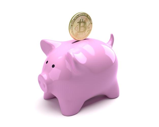 Bitcoin tombant dans une tirelire rose