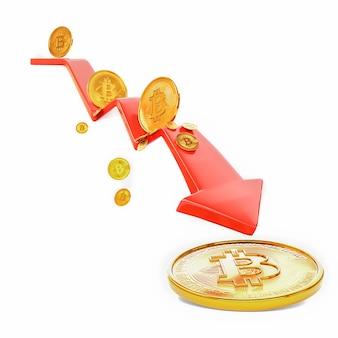 Bitcoin vers le bas. argent tombant isolé