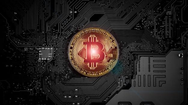 Bitcoins dorés sur circuit imprimé.