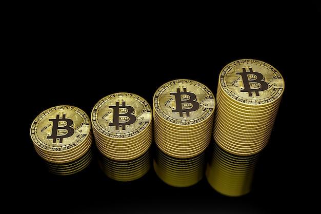 Bitcoins dorés dans le noir