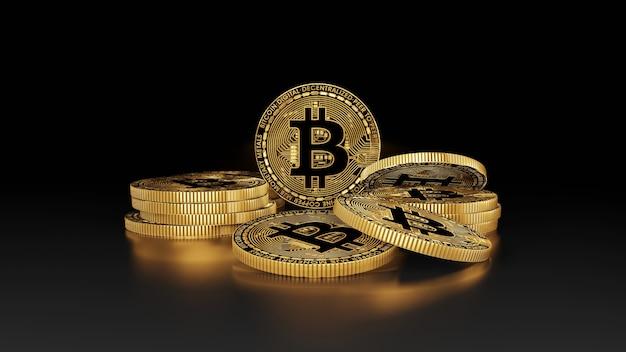 Bitcoins dorés de rendu 3d isolés sur fond noir