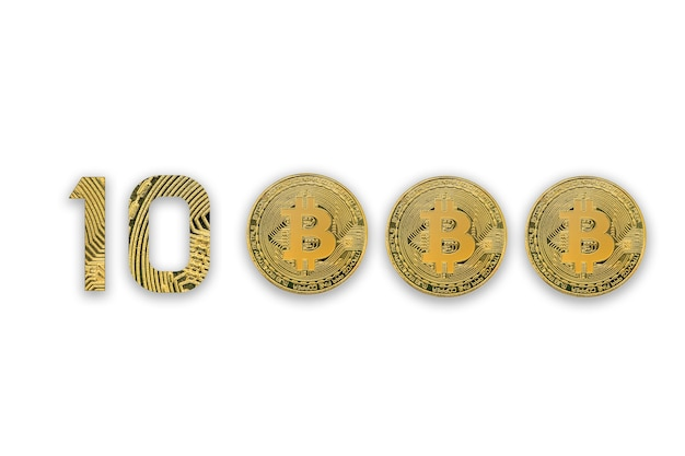 Bitcoins isolés sur blanc