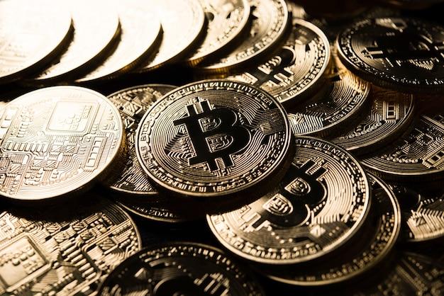 Bitcoins d'or, concept d'argent électronique
