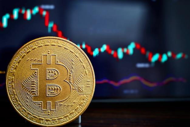 Bitcoins d'or avec graphique en bâton de bougie et arrière-plan numérique. pièce d'or avec lettre d'icône b. mining ou technologie blockchain