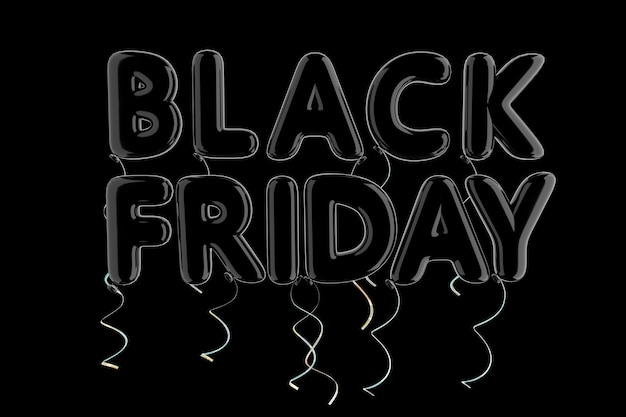 Black balloon black friday signe sur un fond noir. rendu 3d