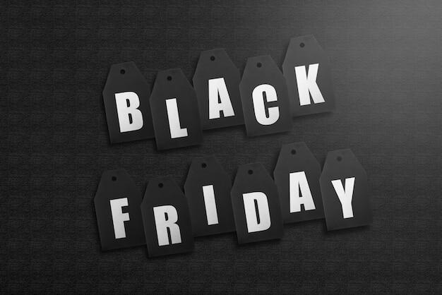 Black friday étiquette tag sur noir