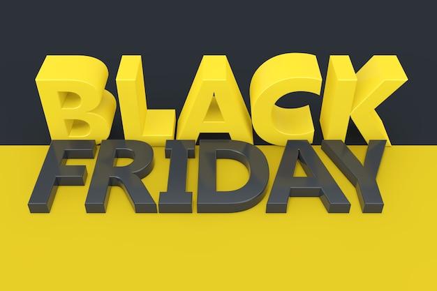 Black friday sale sign in couleurs jaunes et gris gros plan extrême. rendu 3d