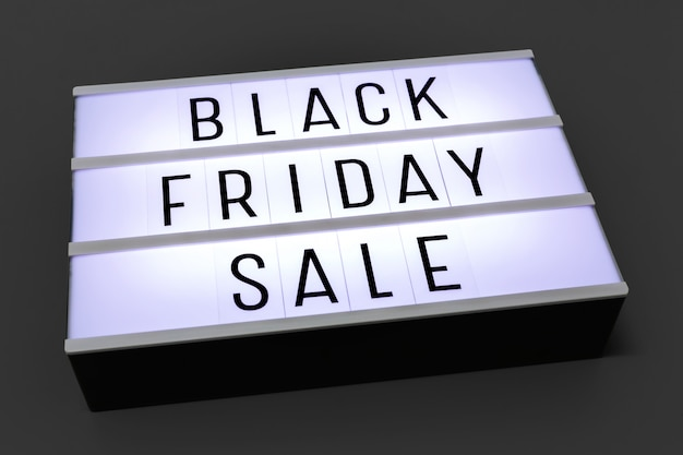 Black friday vente lightbox sur fond sombre