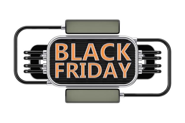 Black friday vente signe de style industriel sur un fond blanc. rendu 3d