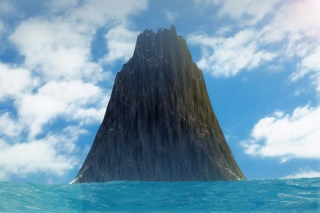 Black rock island paysage en gros plan extrême de l'océan. rendu 3d