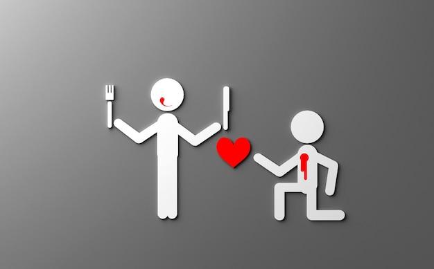 Blague sur l'illustration 3d de la saint-valentin