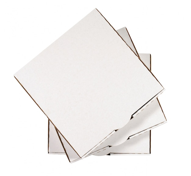 Blanc boîtes à pizza