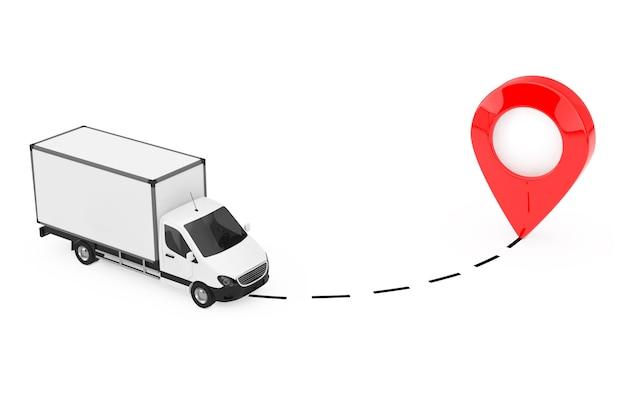 Blanc commercial industrial cargo delivery van truck drive au pointeur sur un fond blanc. rendu 3d
