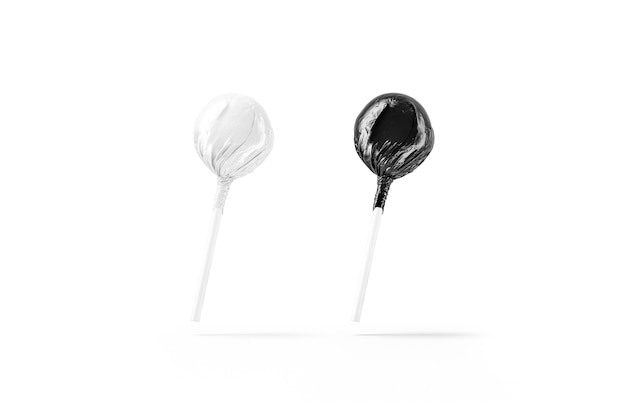 Blanc deux maquettes d'emballage de sucettes en noir et blanc sucettes vides maquette enveloppée de papier d'aluminium isoalted