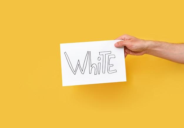 Blanc. main montrant ou tenant une carte avec du texte sur fond jaune
