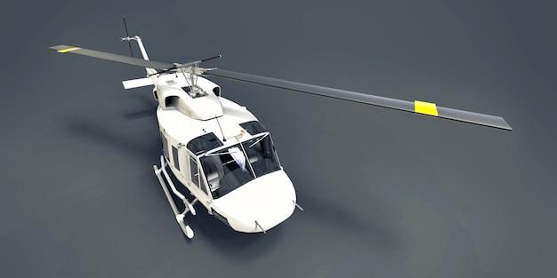 Blanc petit hélicoptère de transport militaire sur fond gris isolé. le service de sauvetage par hélicoptère. taxi aérien hélicoptère pour la police, les pompiers, les ambulances et les services de secours. illustration 3d