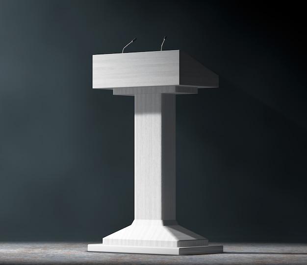 Blanc podium tribune rostrum stand avec microphones dans la lumière volumétrique sur fond noir.