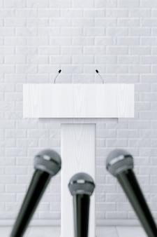Blanc podium tribune rostrum stand avec microphones devant le mur de briques. rendu 3d