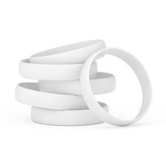 Blanc vierge promo silicone ou bracelets en caoutchouc sur fond blanc. rendu 3d