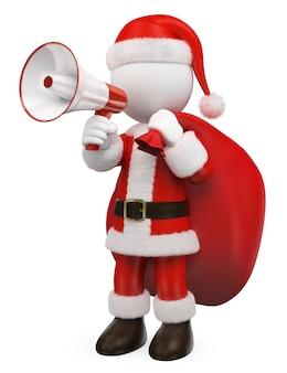 Les blancs 3d. père noël parlant sur un mégaphone blanc et rouge