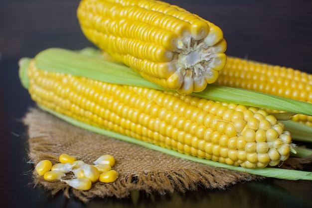 Blé. épis de maïs sucré mûr en feuilles