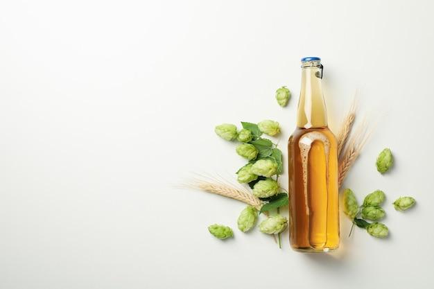 Blé, houblon et bière sur blanc
