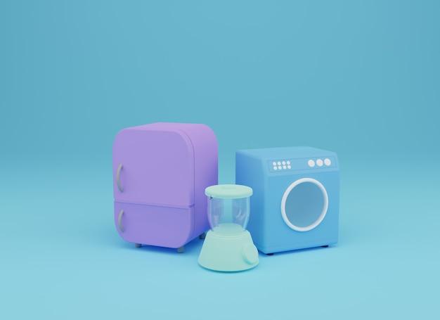 Blenderfreezer et machine à laver l'illustration de rendu 3d en fond bleu