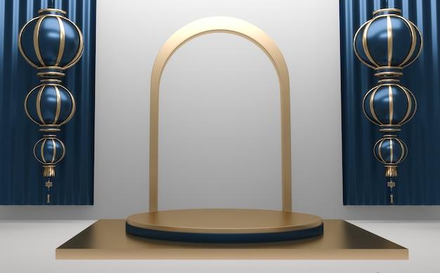 Bleu brillant podium minimal géométrique, résumé de style sombre.