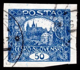 Bleu château de hradcany timbre