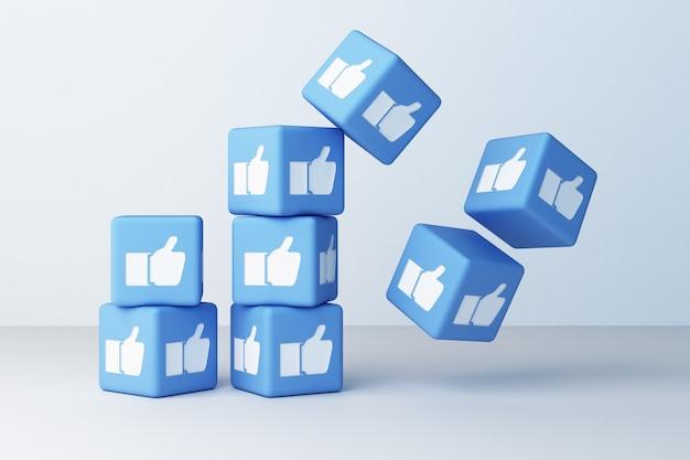 Bleu comme icône conçu boîte 3d rendu 3d