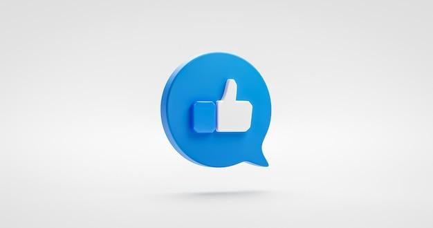 Bleu comme icône pouce levé signe social ou élément de conception graphique symbole de bouton de notification isolé sur fond blanc de partage préféré avec le concept d'adeptes de la bulle de dialogue. rendu 3d.