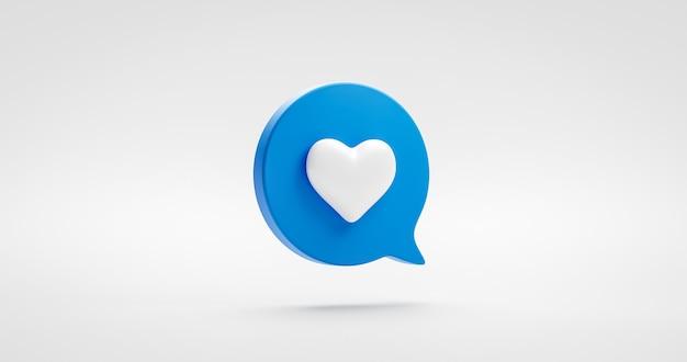Bleu comme signe d'icône de coeur ou élément graphique d'illustration de médias d'amour social préféré isolé sur le symbole de commentaire de notification avec le concept d'adeptes de la bulle de dialogue. rendu 3d.