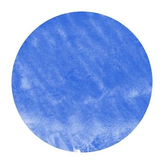 Bleu main dessinée texture d'arrière-plan aquarelle cadre circulaire avec des taches